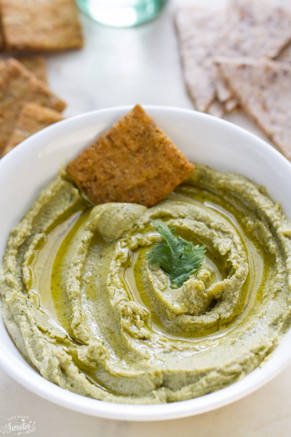 Spinach Arugula Hummus makes the perfect healthy snack