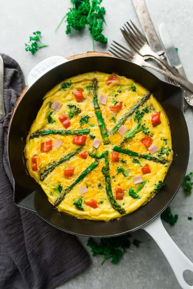 Top view of Keto Frittata with Asparagus, Tomatoes and Ham in a White Cast Iron Skillet Pan