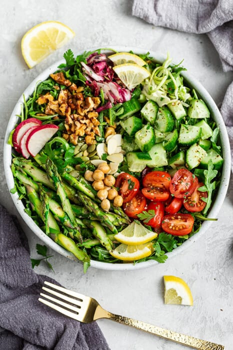 Overhead view of asparagus salad in a bowl