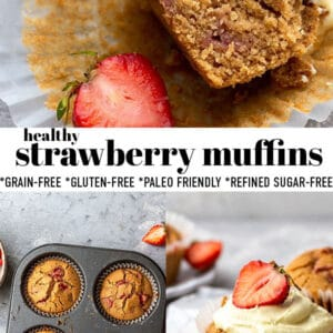 Pinterest collage for strawberry muffins.
