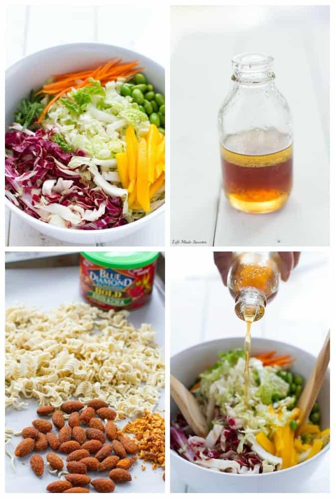photo collage of a crunchy Asian ramen noodle salad