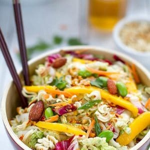 Sriracha Asian Crunchy Ramen Noodle Salad - aka Chinese Chicken Salad - so yummy, easy & perfect for potlucks!