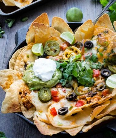 Sriracha Honey Chicken Skillet Nachos