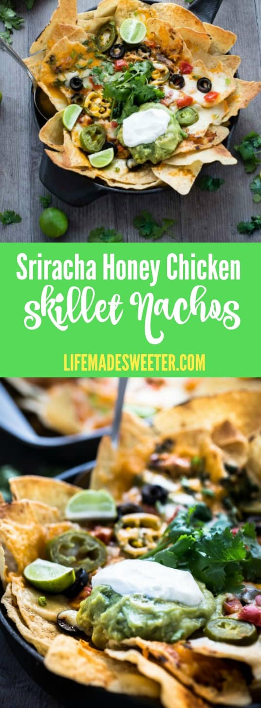 Sriracha Honey Chicken Skillet Nachos make the perfect appetizers or snacks for Cinco de Mayo!