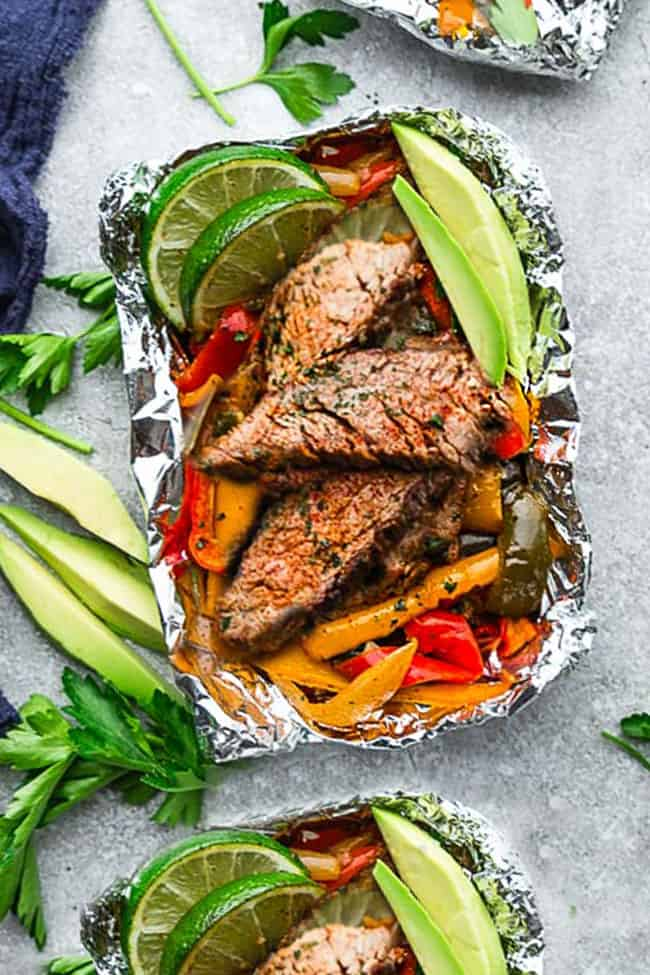 Steak Fajita Foil Packets are the perfect easy & low carb meal for summer grilling, camping and cookouts. Best of all, they're loaded with all your favorite Tex Mex flavors. Paleo, whole 30, gluten free & keto friendly meal.