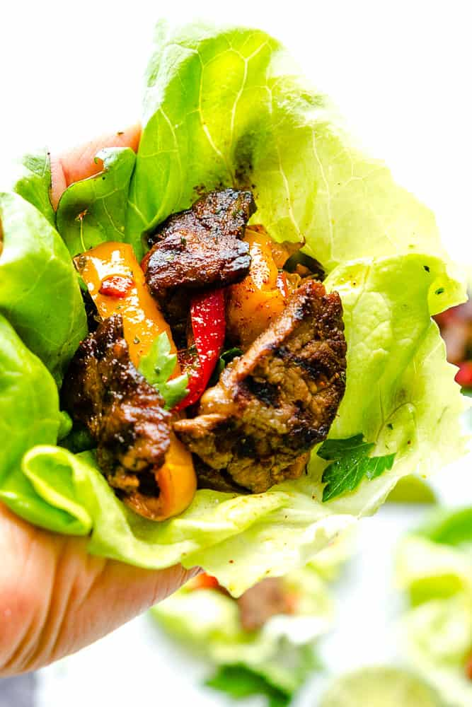 Close-up of a Steak fajita lettuce wrap