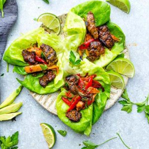 Chili Lime Steak Lettuce Wraps – fresh, flavorful and a healthier way to enjoy tacos or fajias! Less than 30 minutes to make with a homemade seasoning and perfect for lunch or a lightened up dinner for busy weeknights! They are also gluten free, low carb, Keto and Paleo friendly, whole 30 compliant and a healthy meal for your own Cinco de Mayo or Mexican fiesta