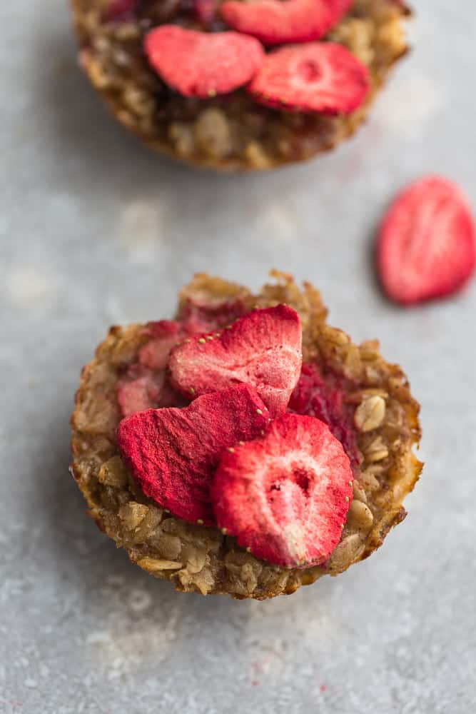 Baked strawberry oatmeal with dried strawberries.