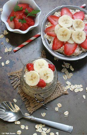 Strawberry, Banana & Coconut Overnight Oats - An easy and delicious combination of banana, strawberry and coconut overnight oats.