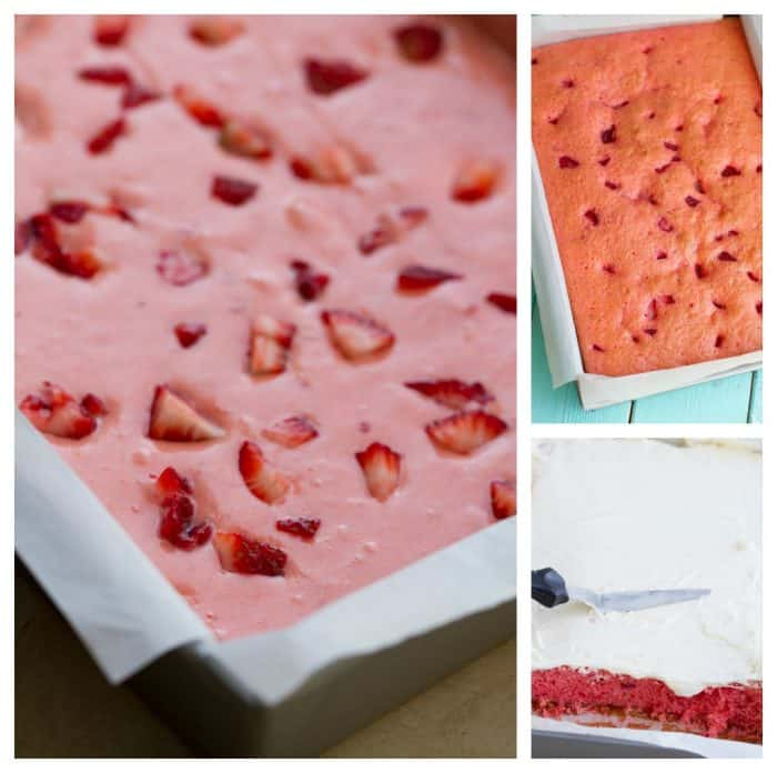 Strawberry Frosted Sheet Cake is perfect for summer parties