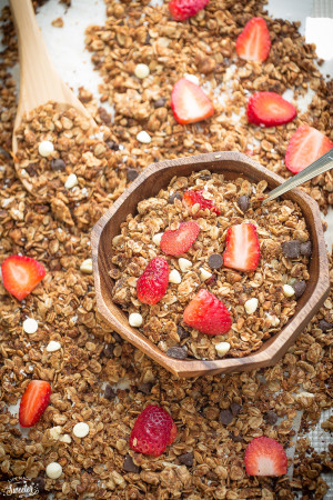Strawberry White Chocolate Granola makes a great healthy & easy snack!!!