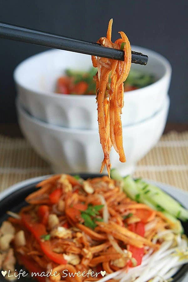 Pad Thai with Sweet Potato Noodles makes the perfect easy weeknight meal and so much better than takeout!
