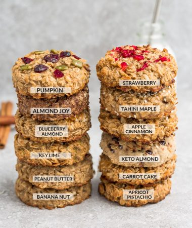 Two Stacks of Oatmeal Breakfast Cookies with One of Each Flavor