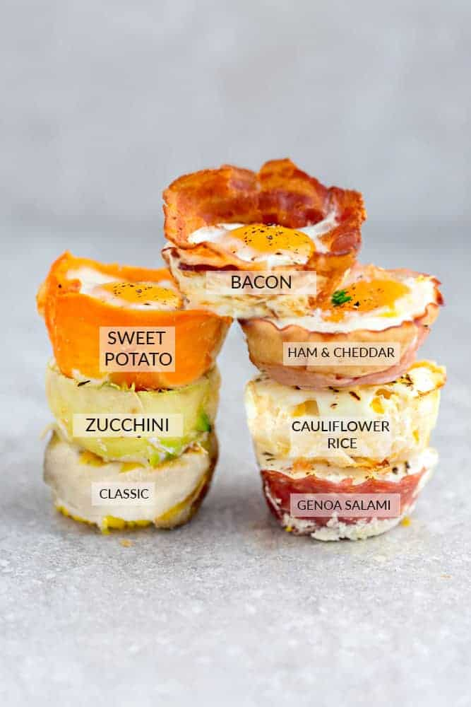 Bacon, Cauliflower & Cheese, Classic, Genoa Salami, Ham & Cheddar, Proscuitto, Sweet Potato, Turnip and Zucchini Baked Egg Cups - 9 Ways are the perfect low carb and protein packed breakfast. Best of all, they are super simple to customize and come together in less than 30 minutes!