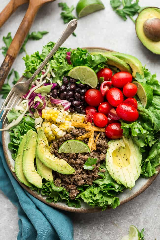 healthy ground turkey taco salad bowl