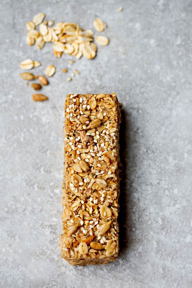 Top view of a Tahini Maple homemade granola bar