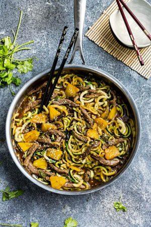 One Pan Teriyaki Beef Stir-Fry {Zucchini Noodles}