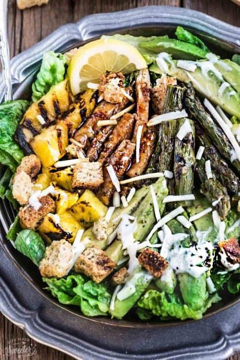 Teriyaki Chicken Caesar Salad makes the perfect healthy weeknight 30 minute meal!!