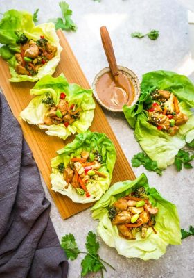 Teriyaki Chicken Lettuce Wraps - a light and healthy meal with all the favorite flavors of the takeout favorite. Best of all, comes together super quick so they're perfect for busy weeknights.