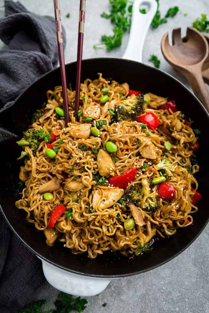 Teriyaki Chicken Ramen Noodle Stir Fry One Pot Skilet Dinner Idea