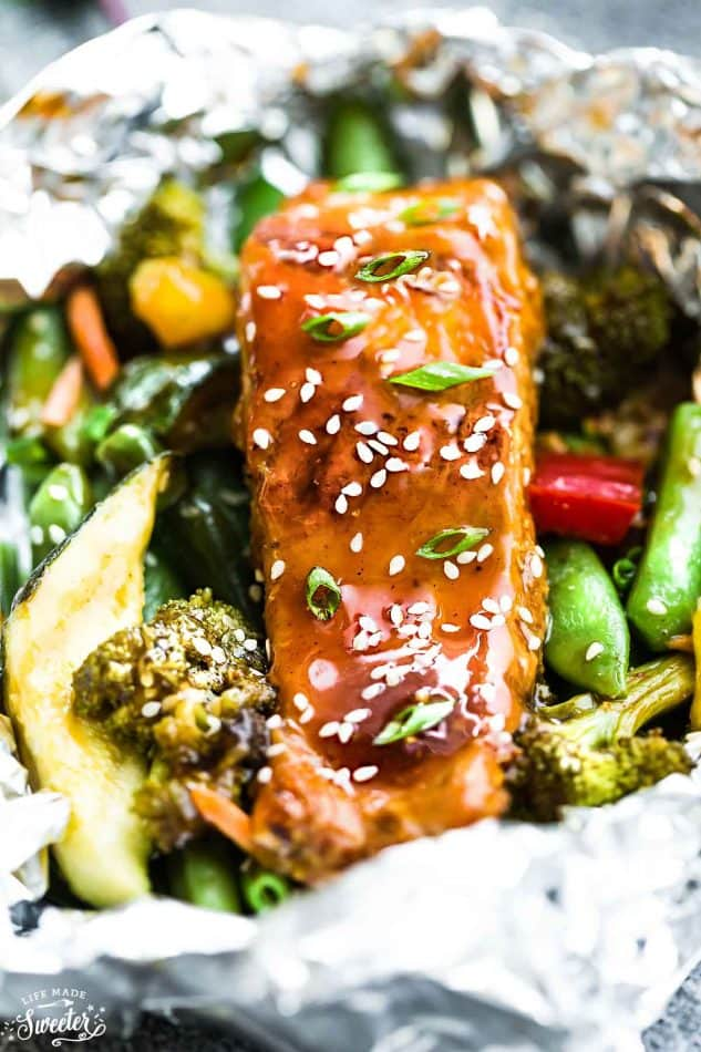 Close-up of a Teriyaki Salmon Foil Packet with Vegetables