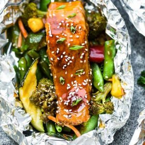 Top view of a Teriyaki Salmon Foil Packet with Vegetables