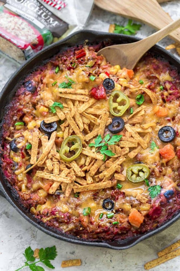 Skillet Tex Mex Casserole makes the perfect easy weeknight meal. You can use easily use chicken or turkey to use up any leftovers from Thanksgiving and the holidays. Best of all it's full of flavorful spices, veggies, quinoa, brown rice and cooks up in just one skillet!