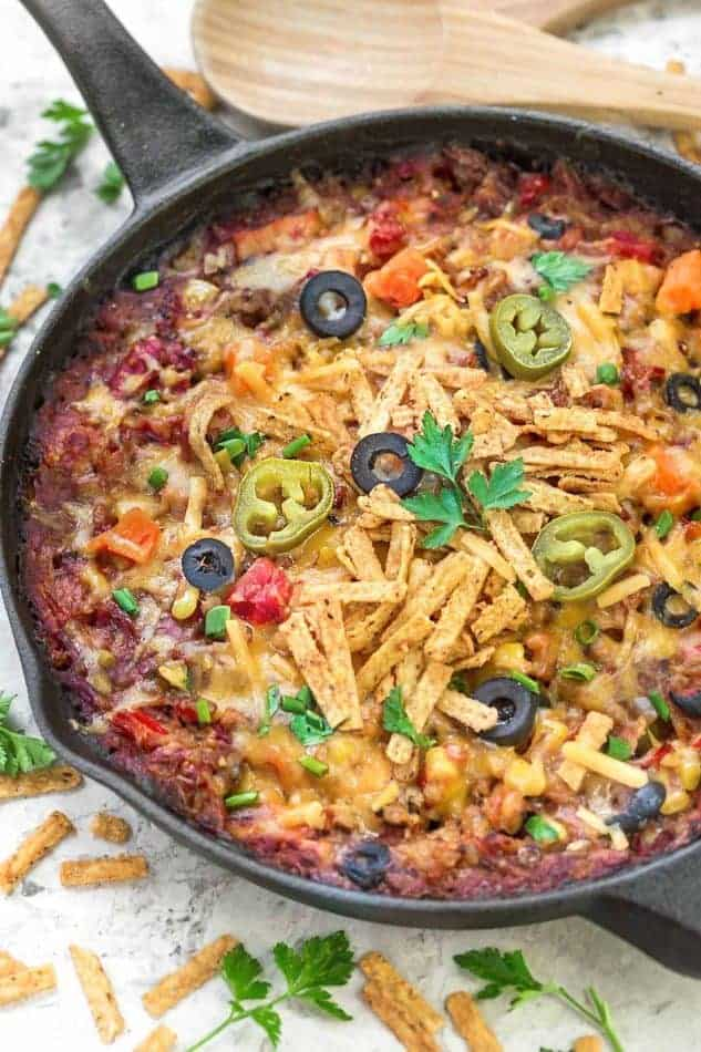 Tex Mex Turkey and Rice Casserole makes the perfect way to use up any leftovers from Thanksgiving and the holidays. Best of all it's full of delicious Tex Mex spices and cooks up in just one skillet!