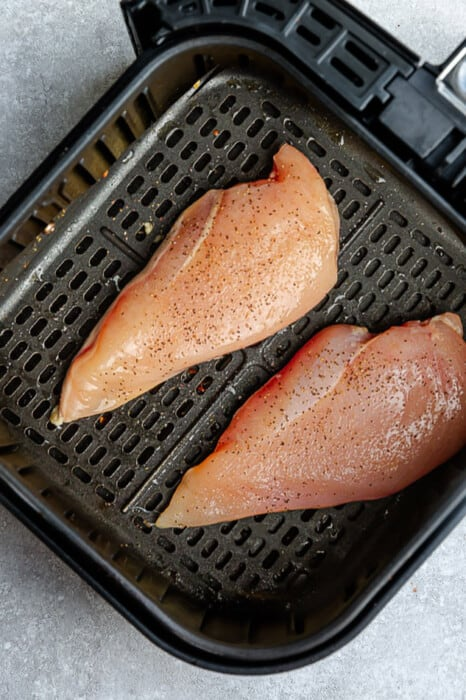 Top view of chicken breast in the air fryer