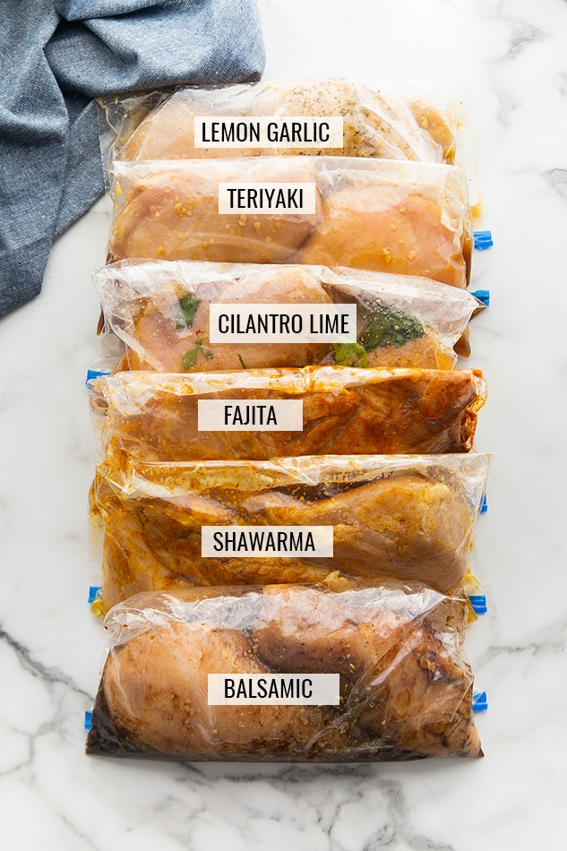 6 marinated chicken breasts in ziplock bags with labels