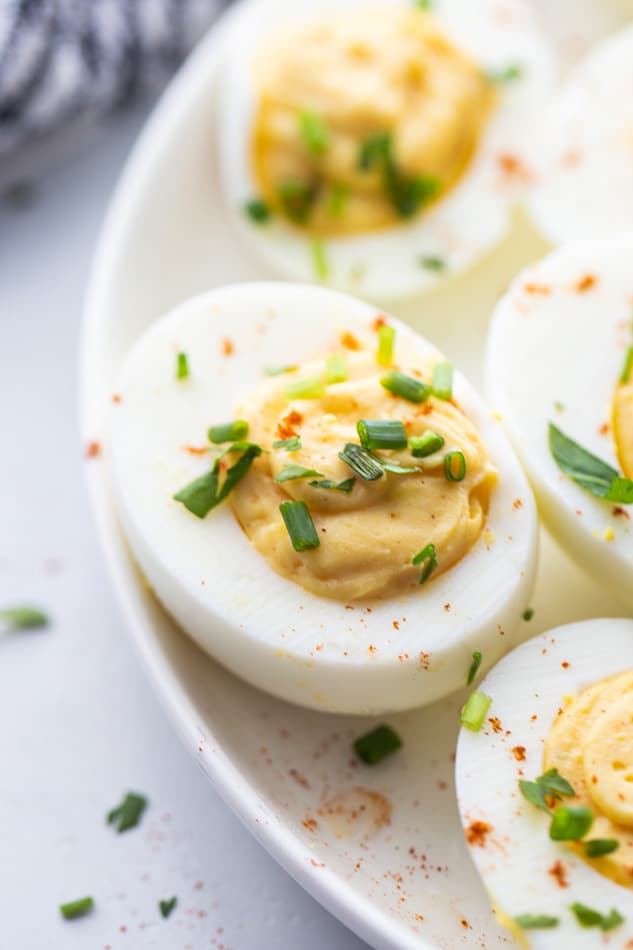 Close-up of deviled eggs on a plate