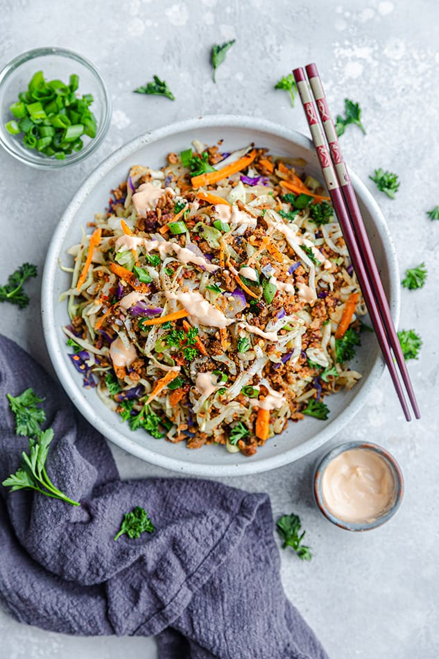 Overhead view of Egg Roll in a Bowl with chopsticks