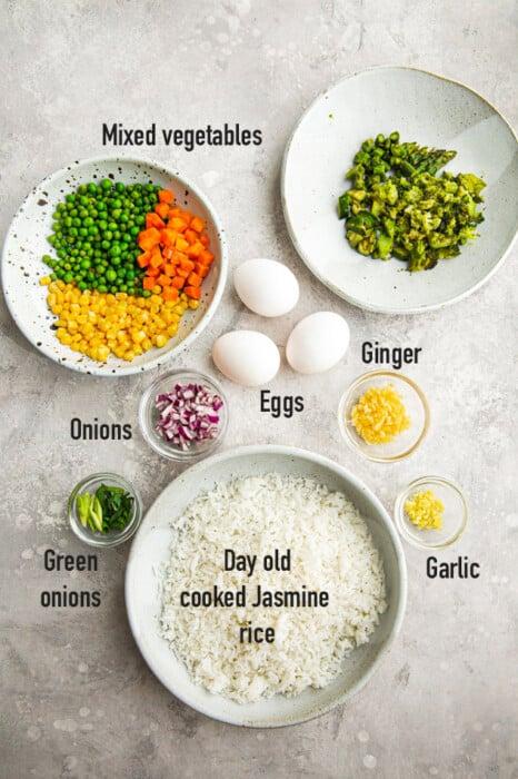 Flat lay of ingredients to make fried rice