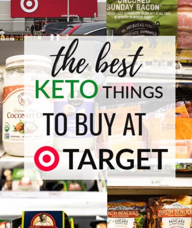 Collage of keto snacks at Target