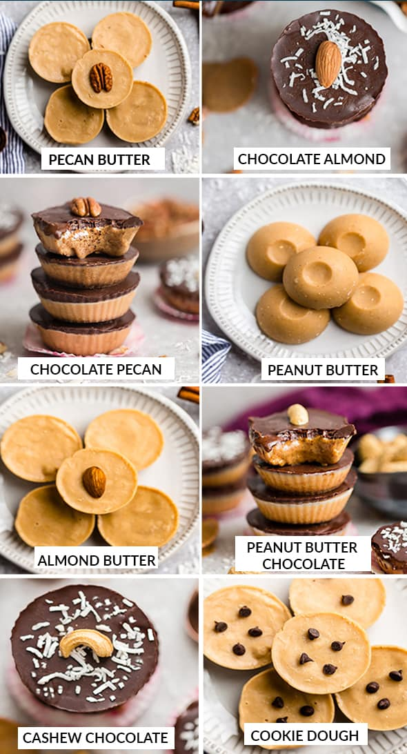 8 Fat Bomb Recipes in a collage - Pecan Butter, Chocolate Fat Bomb, Chocolate Pecan, Peanut Butter Cups, Almond Butter Cups, Chocolate Peanut Butter Fat Bombs, Cashew Chocolate and Cookie Dough Cups