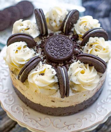 Top view of an Oreo Ice Cream Cake on a white plate