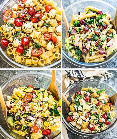 Collage of four varieties of Pasta Salad in glass bowls