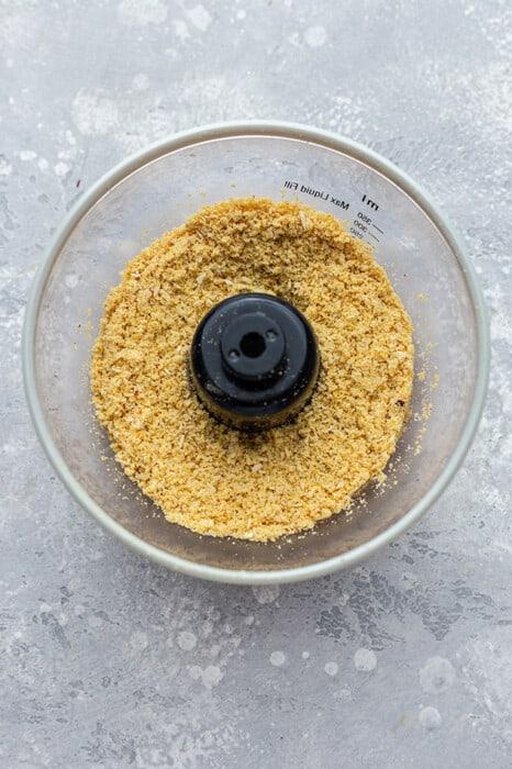 Crispy coating for tofu tenders in a food processor