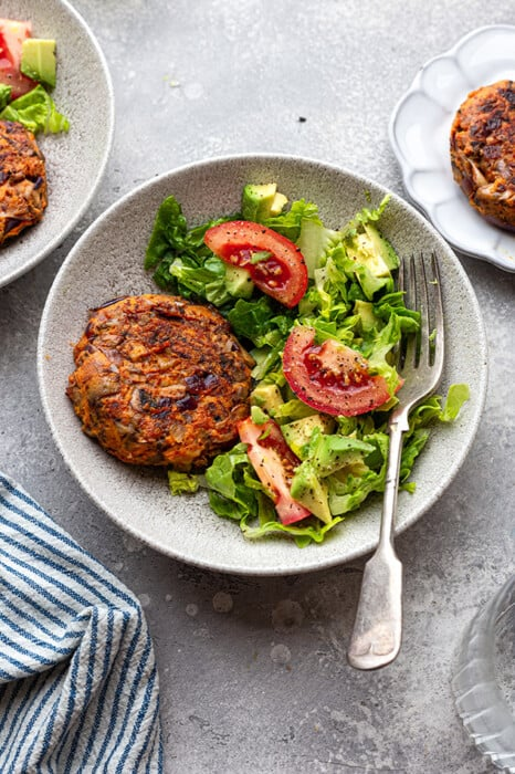 Top view of one veggie burger bowl with a fork