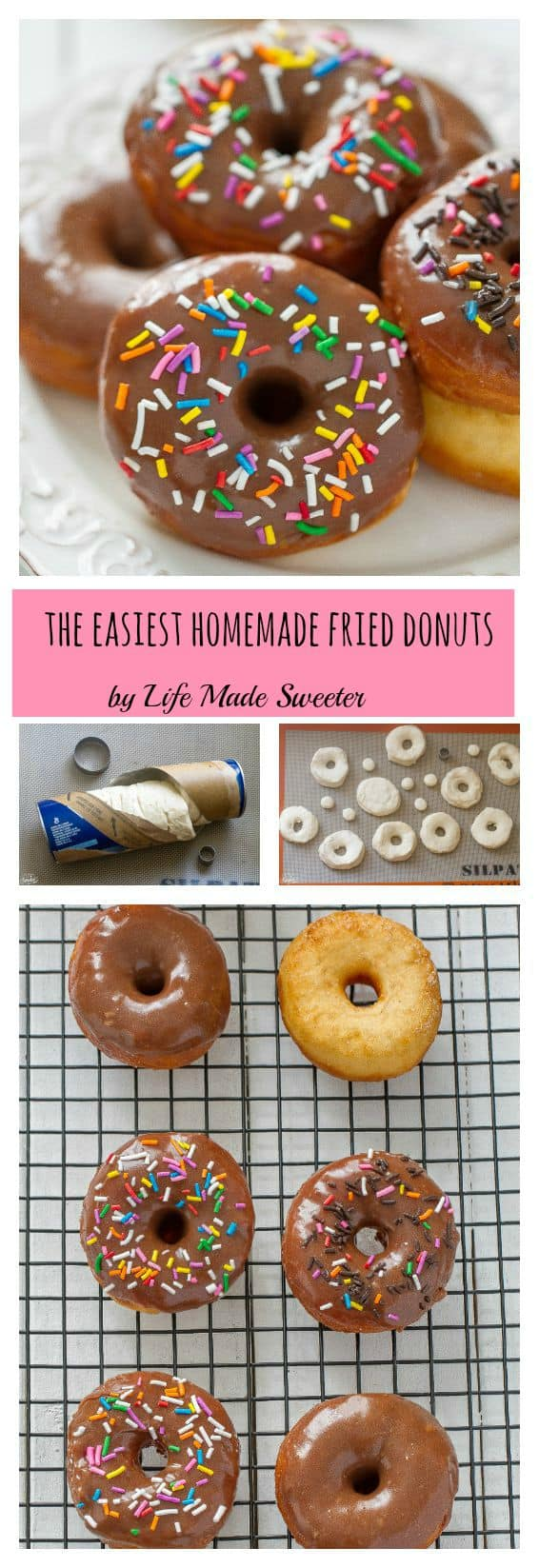 The Best and Easiest Homemade Fried Donuts come out perfectly soft & fluffy