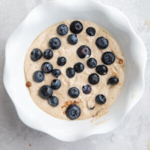 batter for baked oats with blueberries