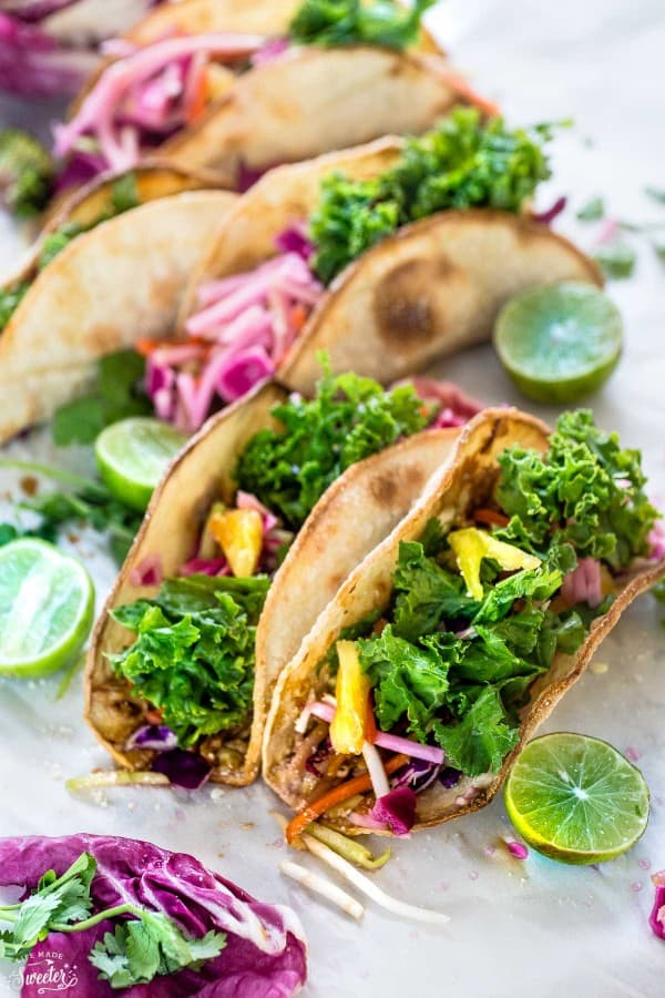Tilapia & Kale Slaw Tacos make the perfect easy & healthy meal!