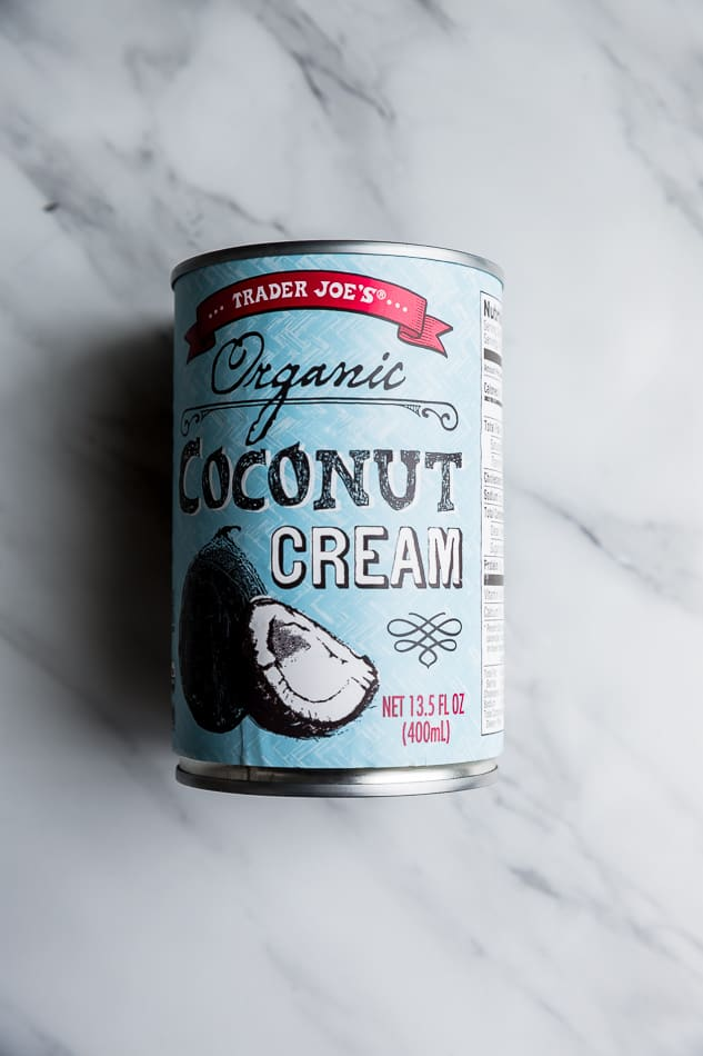 Top view of one can of coconut cream from Trader Joe's white background