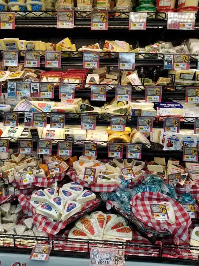 The cheese cooler at Trader Joe's