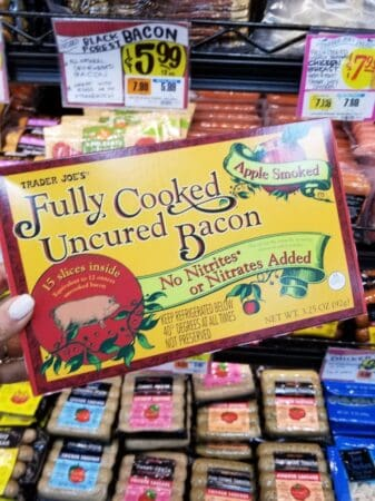 A package of Trader Joe's fully cooked uncured bacon