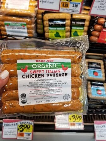 A package of Trader Joe's Sweet Italian Chicken Sausage