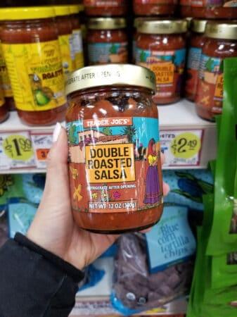 A jar of Trader Joe's double roasted salsa