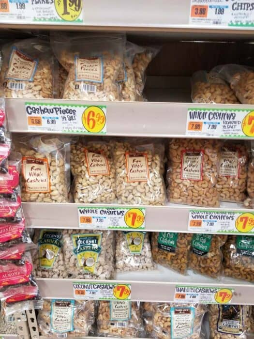 Shelves of nuts and seeds at Trader Joe's