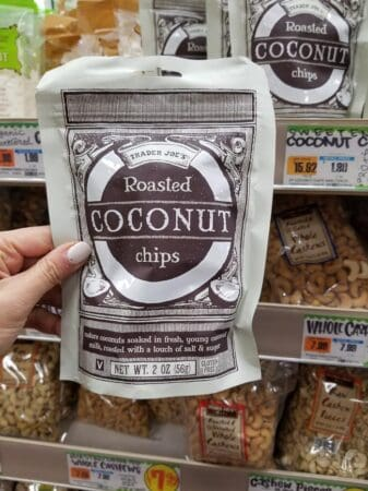 A package of Trader Joe's roasted coconut chips