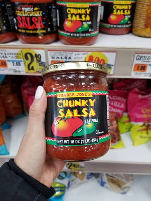 A jar of Trader Joe's chunky salsa